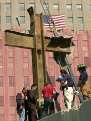 9-11-cross-steel-beams-lifted